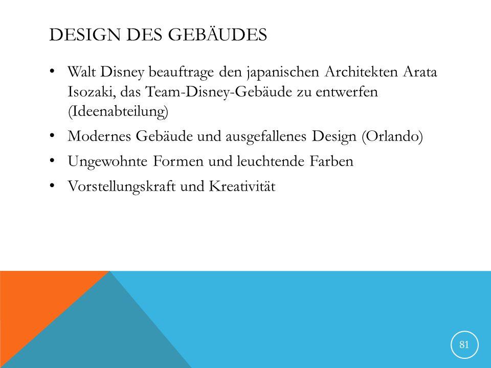 DESIGN DES GEBÄUDES Walt Disney beauftrage den japanischen Architekten Arata Isozaki, das Team-Disney-Gebäude zu entwerfen (Ideenabteilung) Modernes G