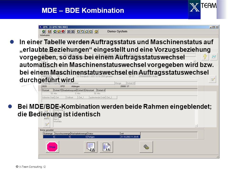 X-Team Consulting / 2 MDE – BDE Kombination Bei MDE/BDE-Kombination werden beide Rahmen eingeblendet; die Bedienung ist identisch In einer Tabelle wer