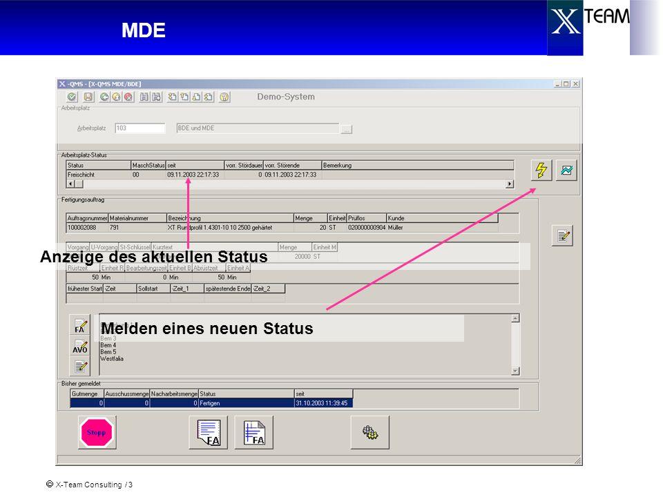 X-Team Consulting / 4 MDE neue Status-/Zustandsmeldung Mit dem Wechsel Rüsten, Fertigen oder Abrüsten wird auch der Status des Fertigungsauftrags umgesetzt Übernahme der Werte Anwahl eines neuen Maschinenstatus