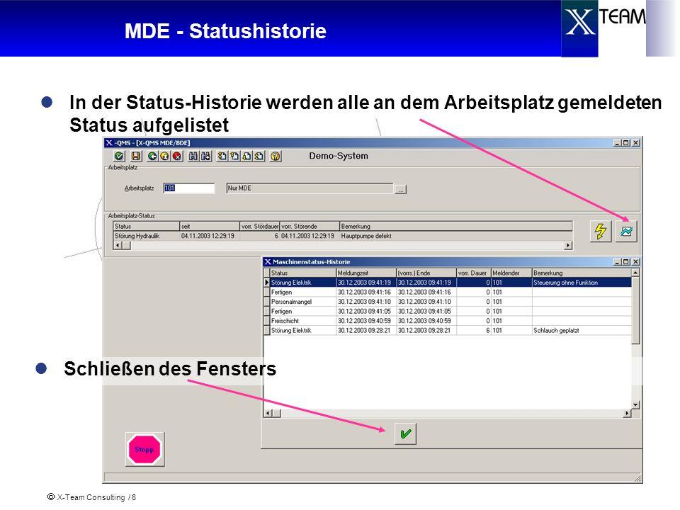 X-Team Consulting / 6 MDE - Statushistorie Schließen des Fensters In der Status-Historie werden alle an dem Arbeitsplatz gemeldeten Status aufgelistet