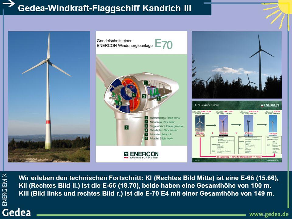 Gedea-Windkraft-Flaggschiff Kandrich III Wir erleben den technischen Fortschritt: KI (Rechtes Bild Mitte) ist eine E-66 (15.66), KII (Rechtes Bild li.