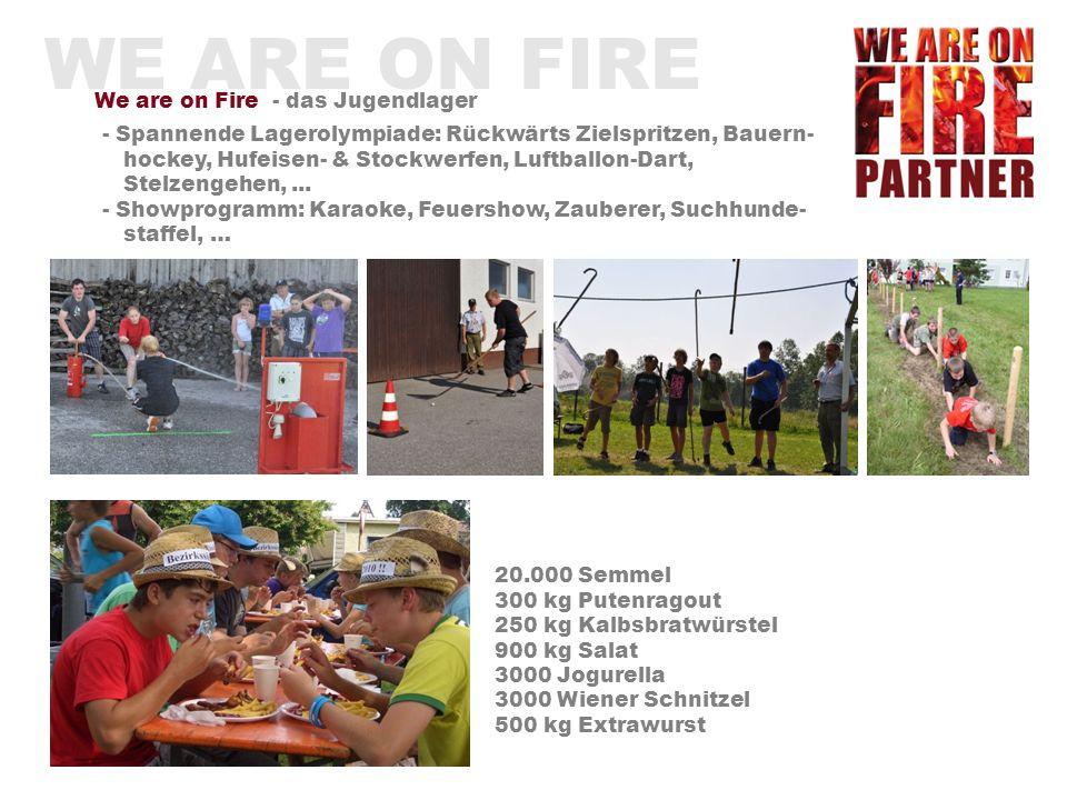 WE ARE ON FIRE We are on Fire - das Jugendlager Mädchen & Burschen von 10 - 16 Jahren 2200 Jugendliche aus Oberösterreich 300 Betreuer 140 Zelte 5000 Besucher – Eltern, Feuerwehr- kameraden, Bevölkerung