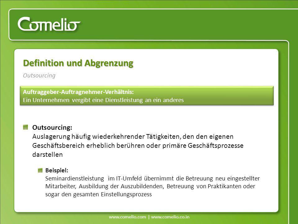 www.comelio.com | www.comelio.co.in Outsourcing Definition und Abgrenzung Auftraggeber-Auftragnehmer-Verhältnis: Ein Unternehmen vergibt eine Dienstle