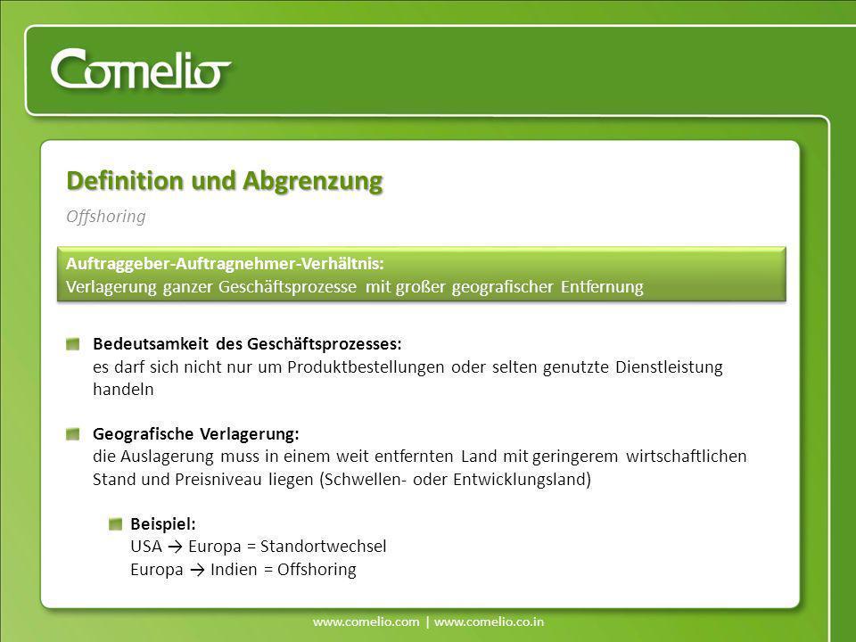 www.comelio.com | www.comelio.co.in Offshoring Definition und Abgrenzung Auftraggeber-Auftragnehmer-Verhältnis: Verlagerung ganzer Geschäftsprozesse m