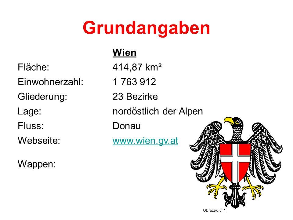 Grundangaben Wien Fläche:414,87 km² Einwohnerzahl:1 763 912 Gliederung:23 Bezirke Lage:nordöstlich der Alpen Fluss:Donau Webseite: Wappen: www.wien.gv.at Obrázek č.