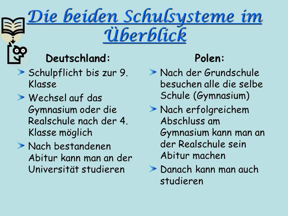 Die beiden Schulsysteme im Überblick Deutschland: Schulpflicht bis zur 9. Klasse Wechsel auf das Gymnasium oder die Realschule nach der 4. Klasse mögl