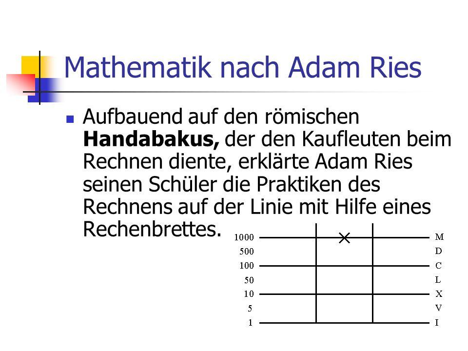 Mathematik nach Adam Ries Aufbauend auf den römischen Handabakus, der den Kaufleuten beim Rechnen diente, erklärte Adam Ries seinen Schüler die Prakti