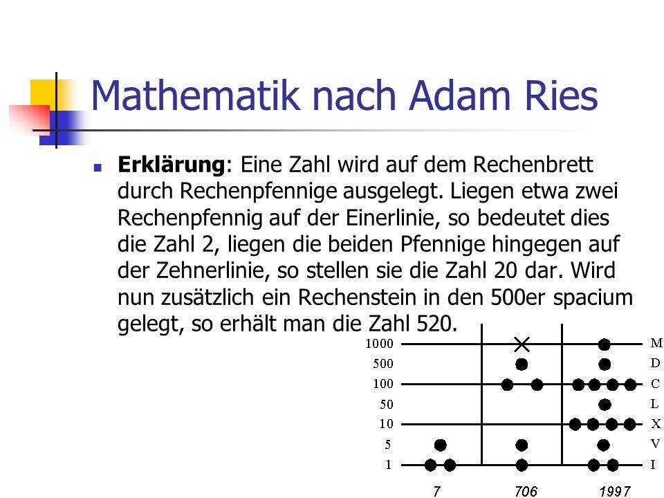 Mathematik nach Adam Ries Erhöhung: Auf einer Linie dürfen immer nur 4 Steine liegen, in einem Zwischenraum immer nur 1 Stein.
