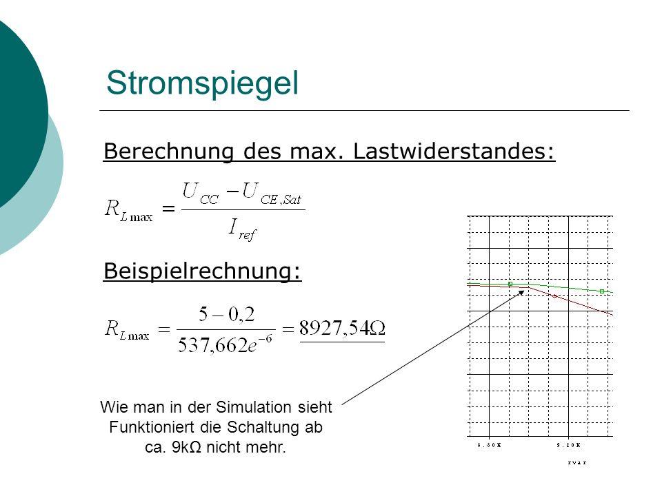 Stromspiegel Berechnung des max.
