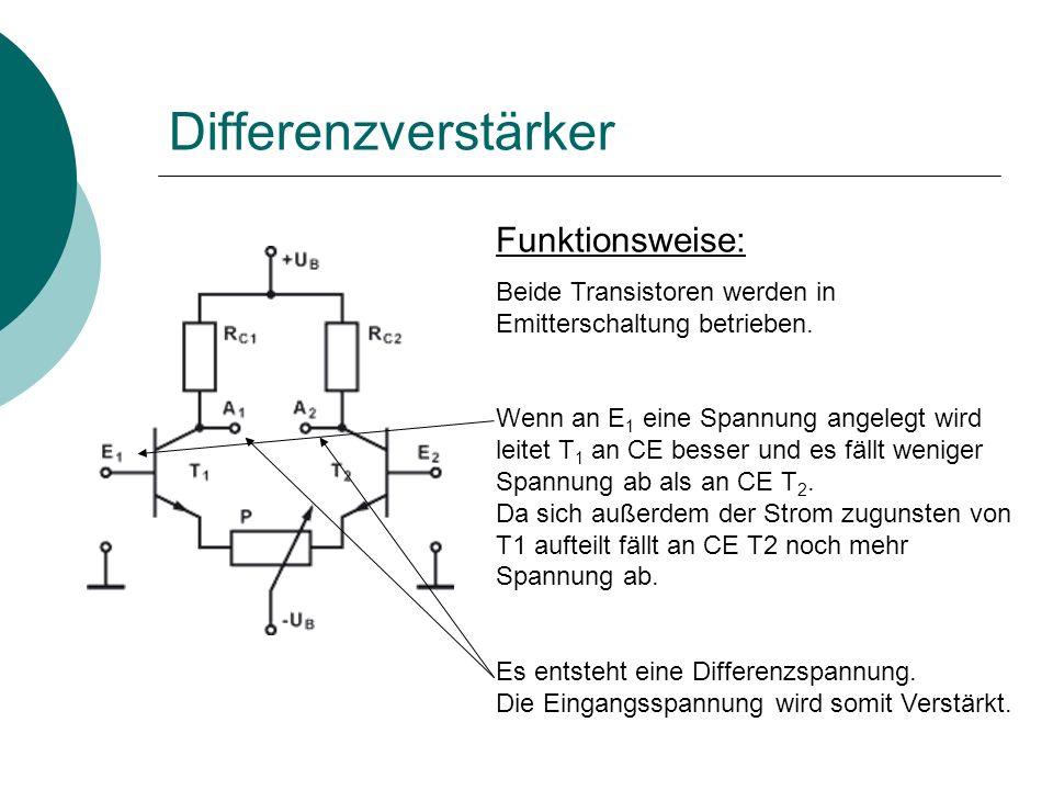 Funktionsweise: Beide Transistoren werden in Emitterschaltung betrieben.