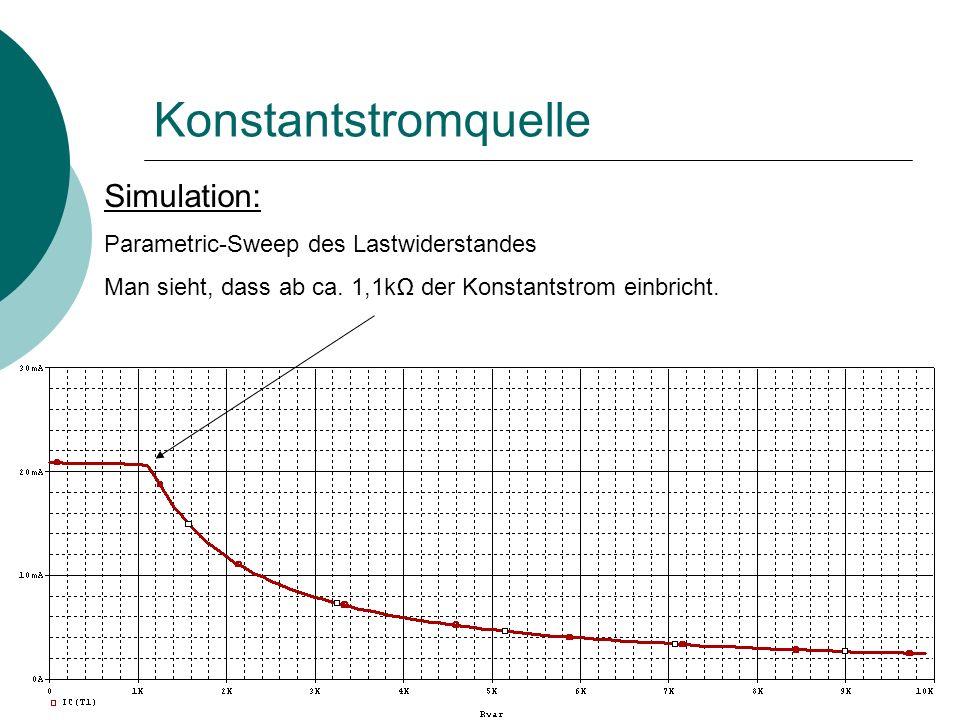 Konstantstromquelle Simulation: Parametric-Sweep des Lastwiderstandes Man sieht, dass ab ca.
