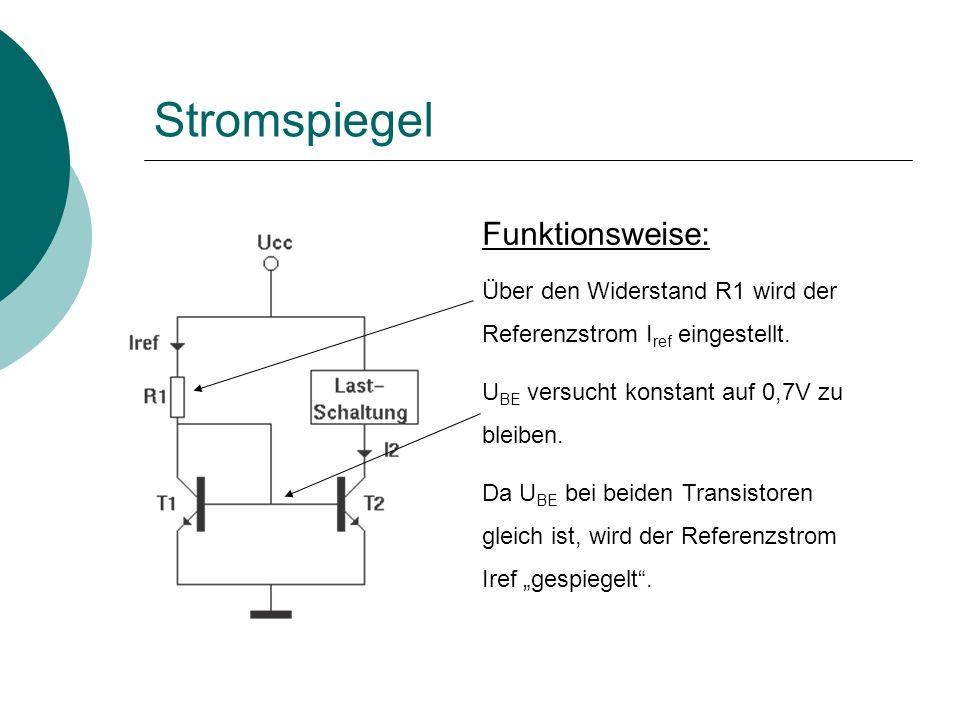 Funktionsweise: Über den Widerstand R1 wird der Referenzstrom I ref eingestellt.