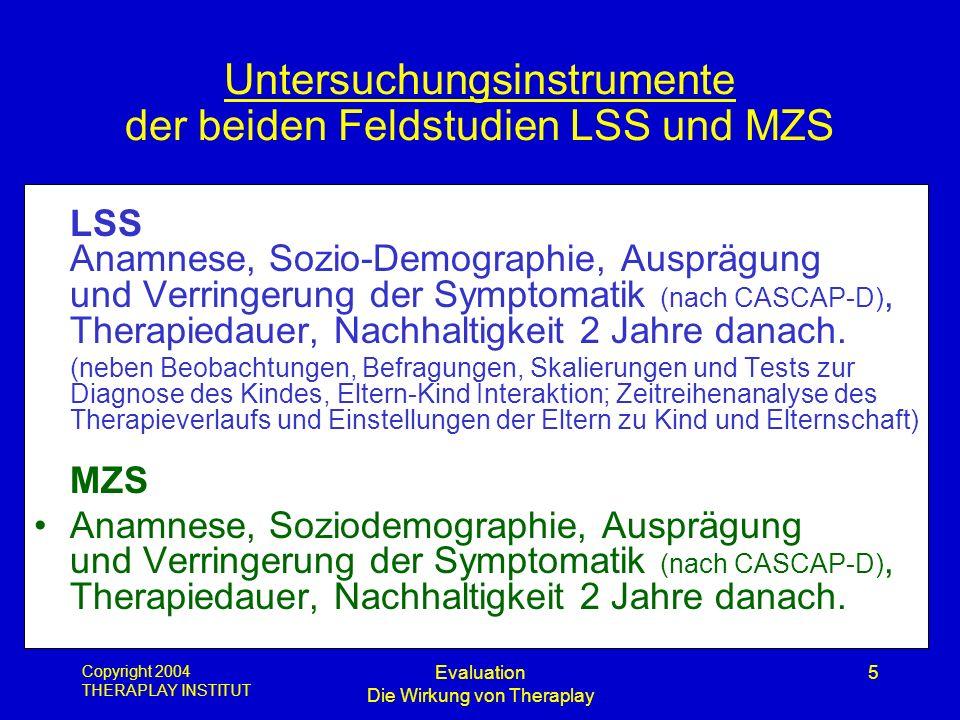 Copyright 2004 THERAPLAY INSTITUT Evaluation Die Wirkung von Theraplay 5 Untersuchungsinstrumente der beiden Feldstudien LSS und MZS LSS Anamnese, Soz