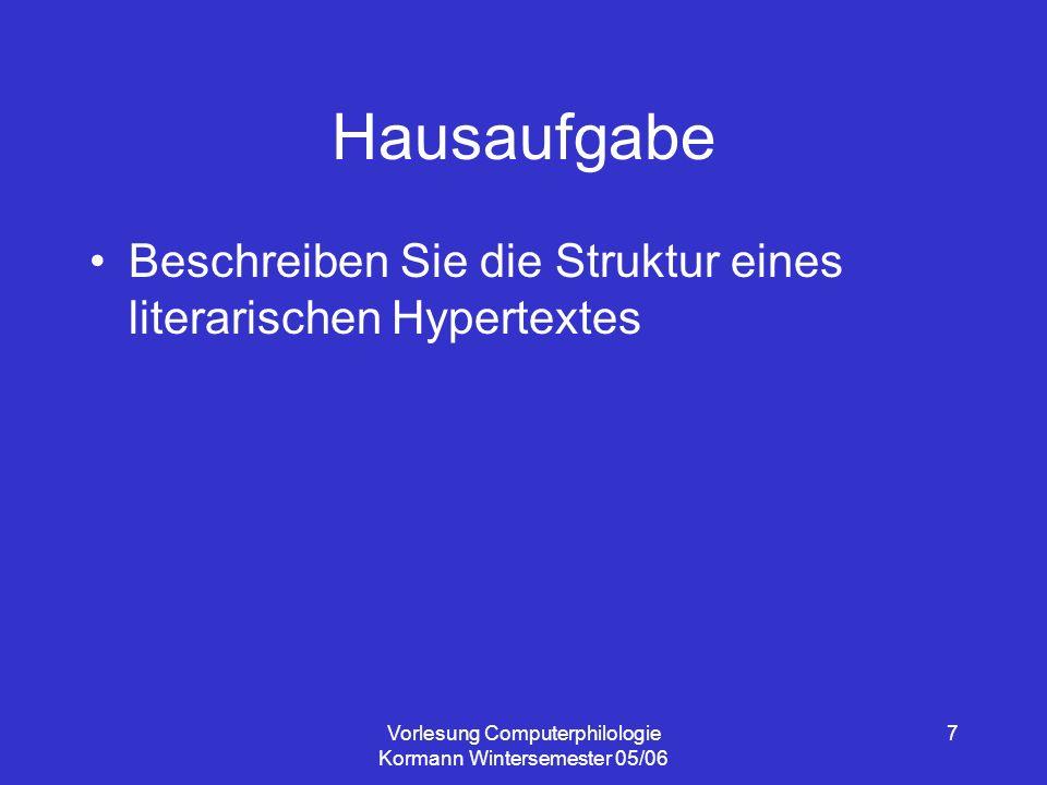 Vorlesung Computerphilologie Kormann Wintersemester 05/06 7 Hausaufgabe Beschreiben Sie die Struktur eines literarischen Hypertextes