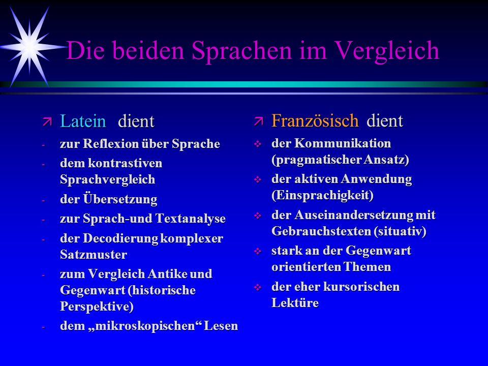 Die beiden Sprachen im Vergleich ä Latein dient - zur Reflexion über Sprache - dem kontrastiven Sprachvergleich - der Übersetzung - zur Sprach-und Tex