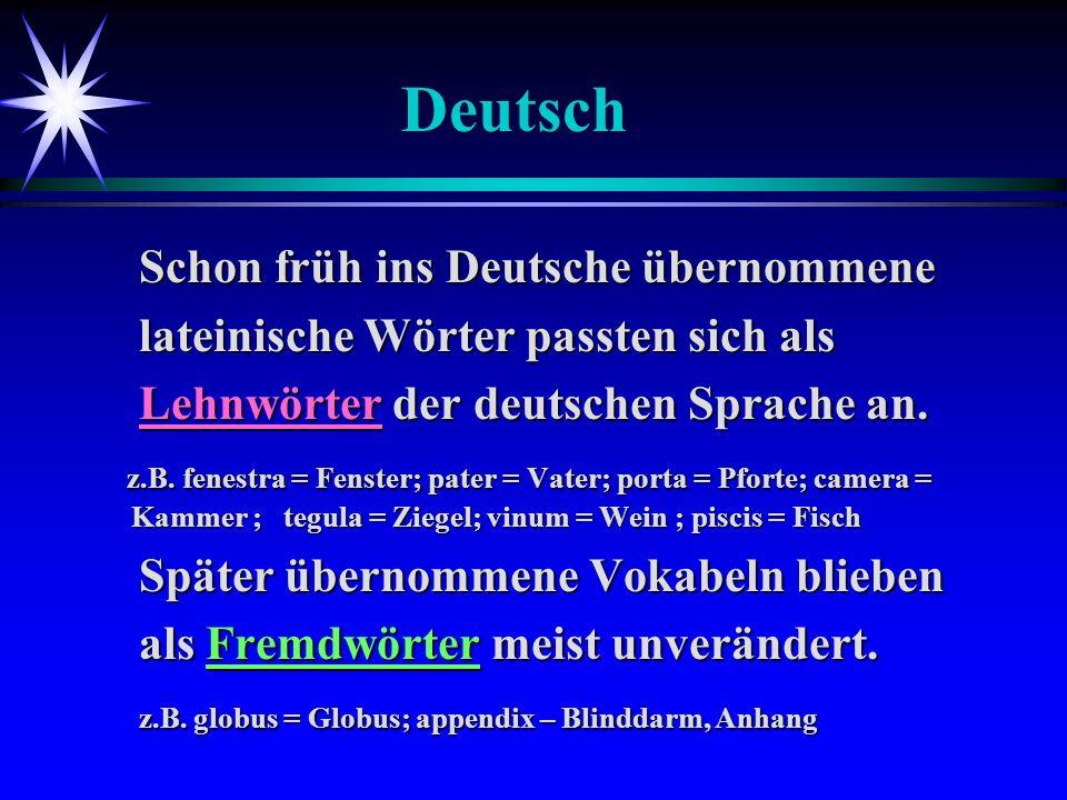 Deutsch Schon früh ins Deutsche übernommene Schon früh ins Deutsche übernommene lateinische Wörter passten sich als lateinische Wörter passten sich al