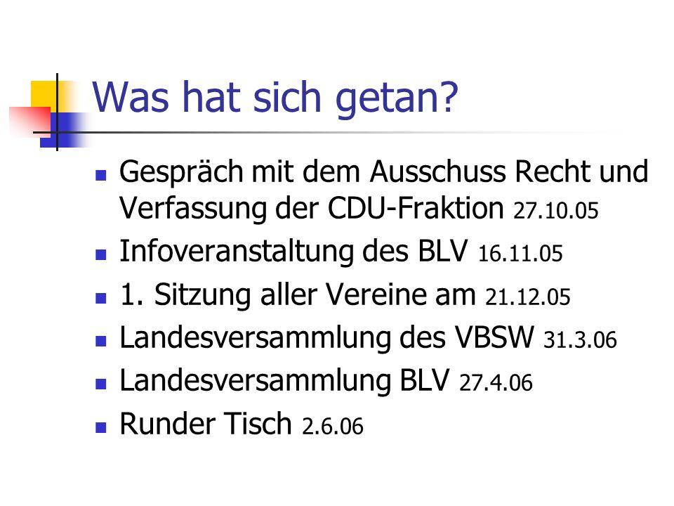 Was hat sich getan? Gespräch mit dem Ausschuss Recht und Verfassung der CDU-Fraktion 27.10.05 Infoveranstaltung des BLV 16.11.05 1. Sitzung aller Vere