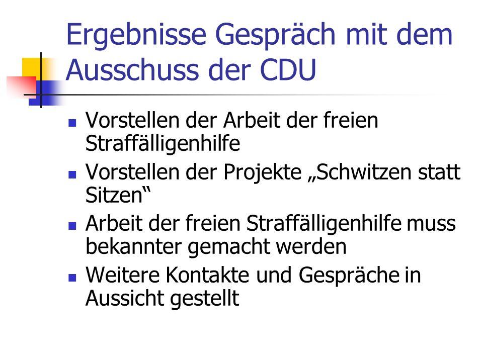 Ergebnisse Gespräch mit dem Ausschuss der CDU Vorstellen der Arbeit der freien Straffälligenhilfe Vorstellen der Projekte Schwitzen statt Sitzen Arbei