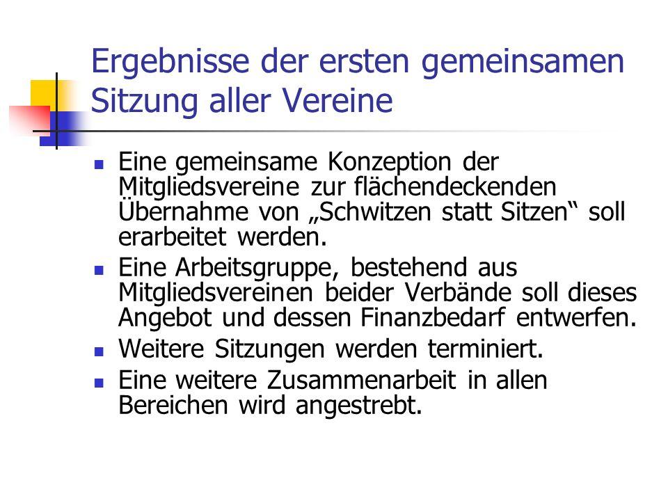 Ergebnisse der ersten gemeinsamen Sitzung aller Vereine Eine gemeinsame Konzeption der Mitgliedsvereine zur flächendeckenden Übernahme von Schwitzen s