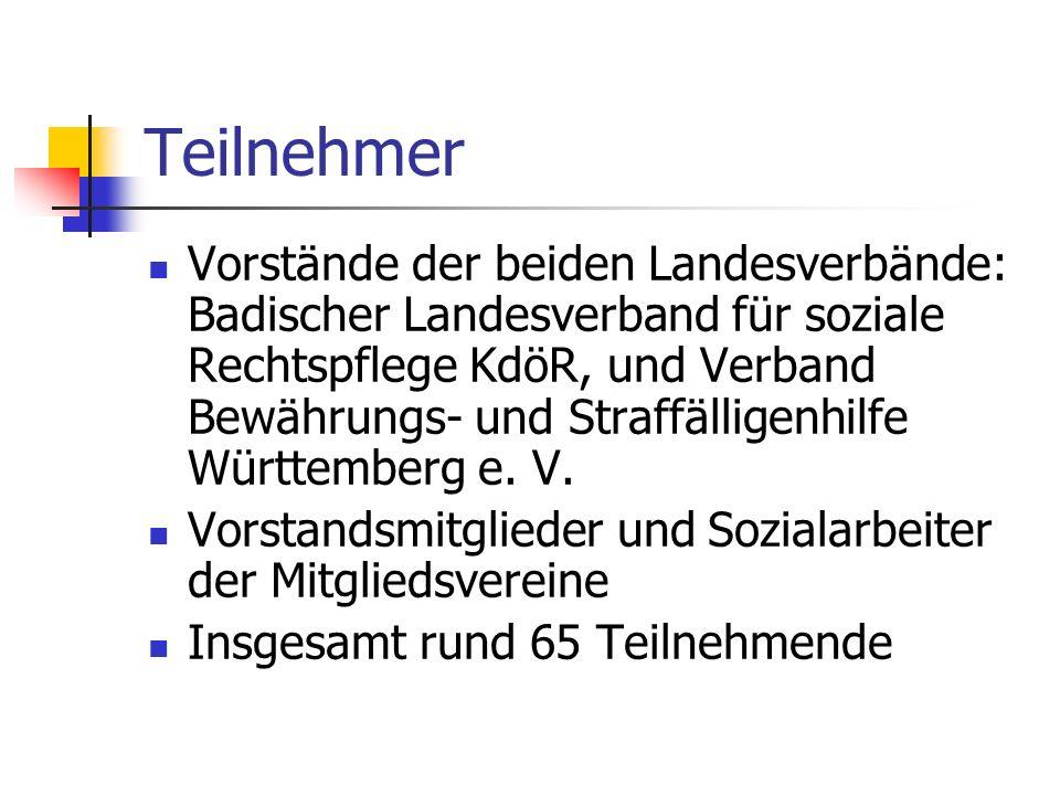 Teilnehmer Vorstände der beiden Landesverbände: Badischer Landesverband für soziale Rechtspflege KdöR, und Verband Bewährungs- und Straffälligenhilfe