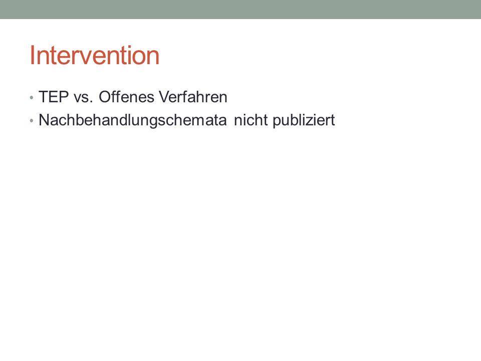 Intervention TEP vs. Offenes Verfahren Nachbehandlungschemata nicht publiziert