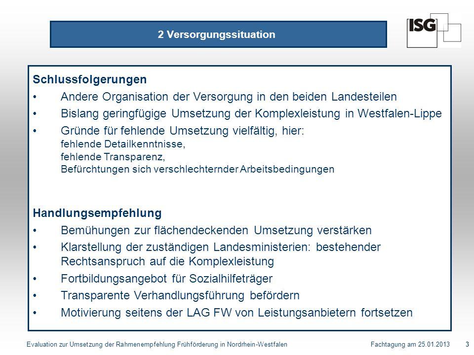 Evaluation zur Umsetzung der Rahmenempfehlung Frühförderung in Nordrhein-Westfalen Fachtagung am 25.01.20133 2 Versorgungssituation Schlussfolgerungen