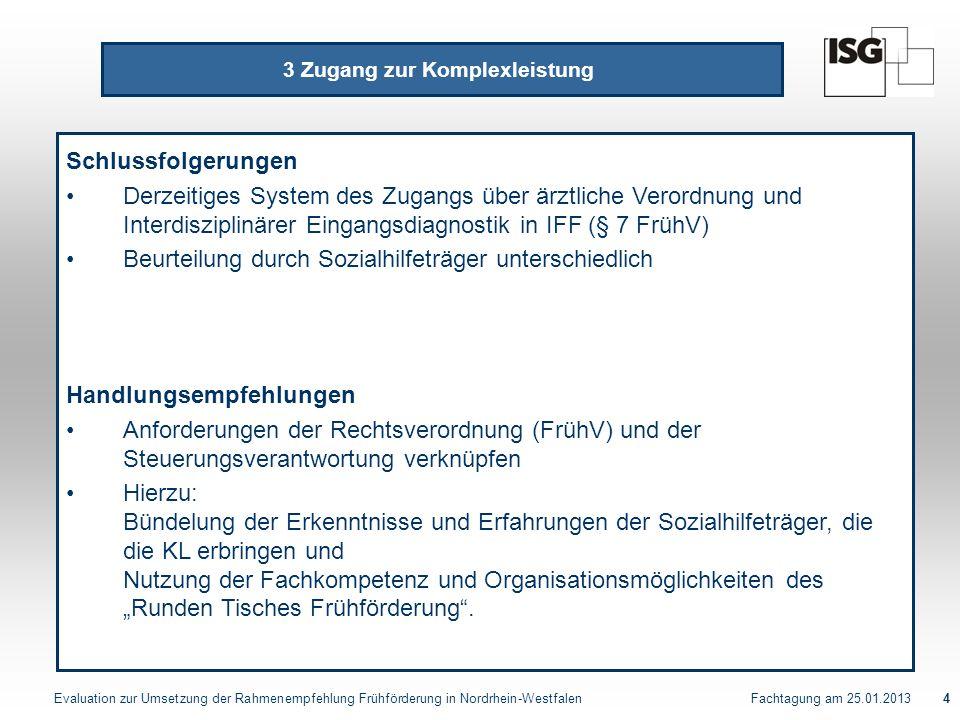 Evaluation zur Umsetzung der Rahmenempfehlung Frühförderung in Nordrhein-Westfalen Fachtagung am 25.01.20134 3 Zugang zur Komplexleistung Schlussfolge