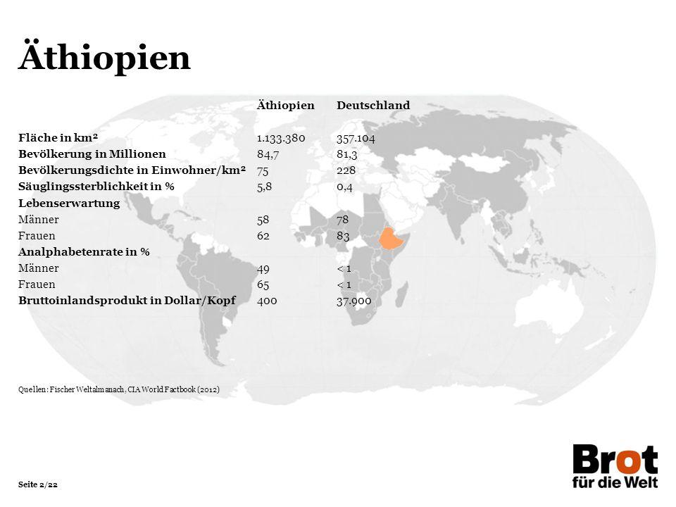 Seite 2/22 Äthiopien ÄthiopienDeutschland Fläche in km²1.133.380357.104 Bevölkerung in Millionen 84,781,3 Bevölkerungsdichte in Einwohner/km²75228 Säuglingssterblichkeit in %5,80,4 Lebenserwartung Männer5878 Frauen6283 Analphabetenrate in % Männer49< 1 Frauen65< 1 Bruttoinlandsprodukt in Dollar/Kopf40037.900 Quellen: Fischer Weltalmanach, CIA World Factbook (2012)
