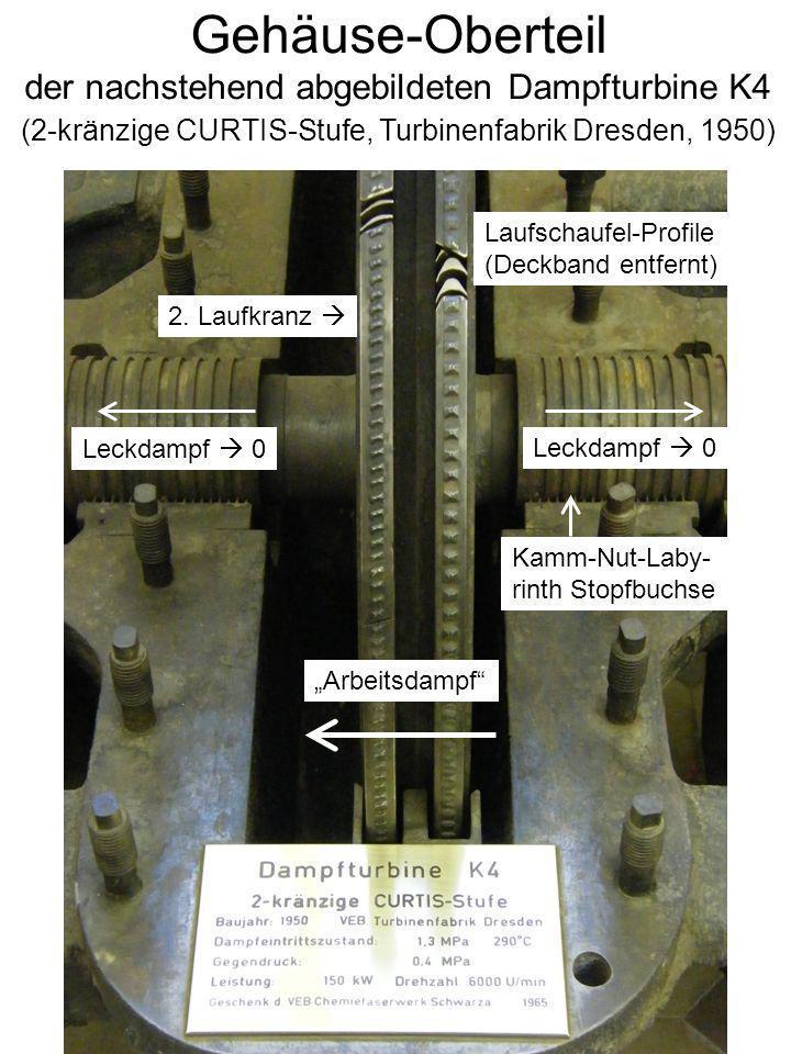 Gehäuse-Oberteil der nachstehend abgebildeten Dampfturbine K4 (2-kränzige CURTIS-Stufe, Turbinenfabrik Dresden, 1950) Leckdampf 0 Arbeitsdampf Leckdam