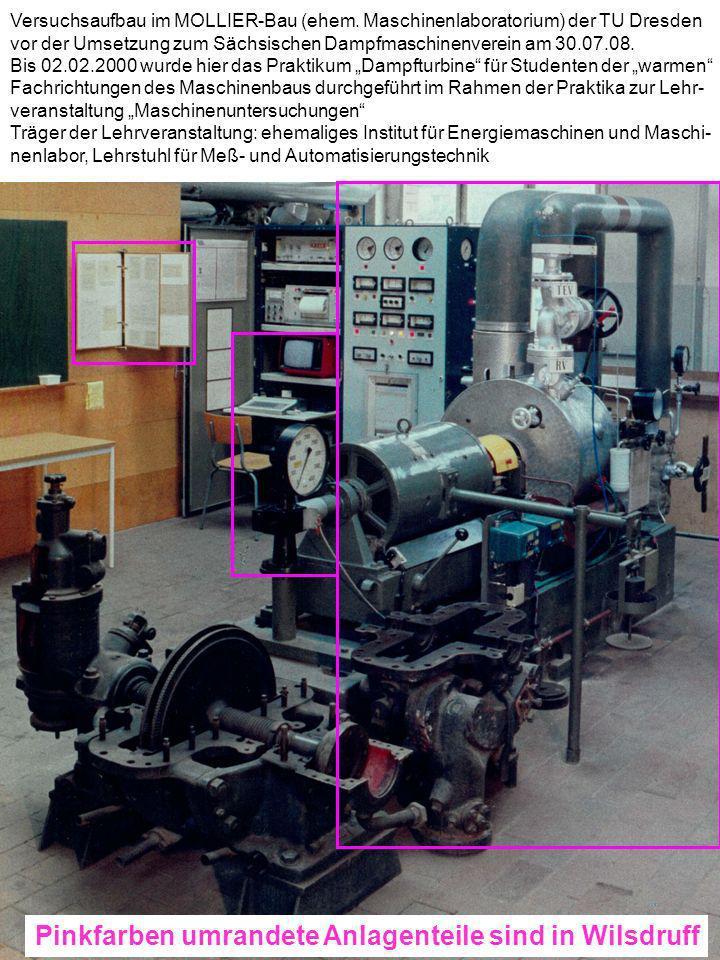 Versuchsaufbau im MOLLIER-Bau (ehem. Maschinenlaboratorium) der TU Dresden vor der Umsetzung zum Sächsischen Dampfmaschinenverein am 30.07.08. Bis 02.