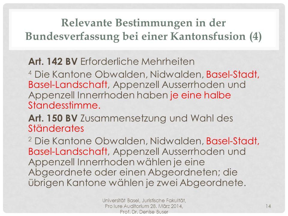 Universität Basel, Juristische Fakultät, Pro Iure Auditorium 28. März 2014, Prof. Dr. Denise Buser 14 Relevante Bestimmungen in der Bundesverfassung b