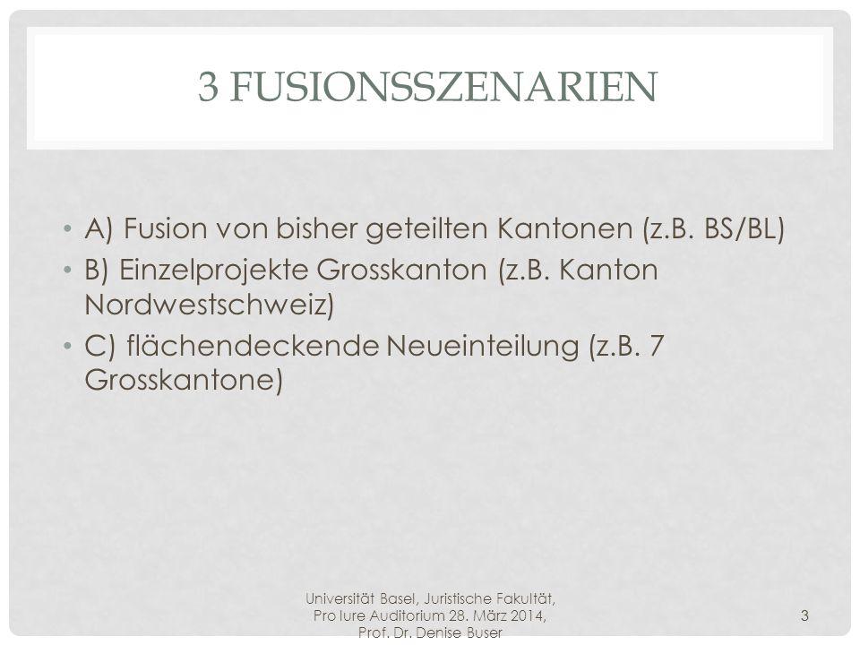 Universität Basel, Juristische Fakultät, Pro Iure Auditorium 28. März 2014, Prof. Dr. Denise Buser 3 3 FUSIONSSZENARIEN A) Fusion von bisher geteilten