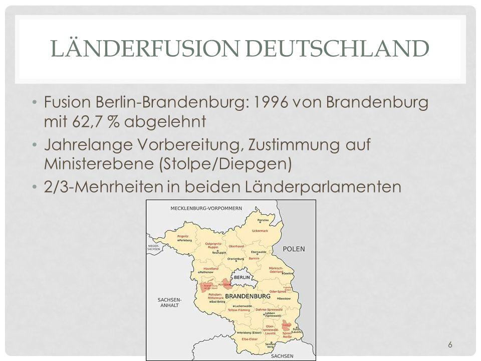 Universität Basel, Juristische Fakultät, Pro Iure Auditorium 28. März 2014, Prof. Dr. Denise Buser 6 LÄNDERFUSION DEUTSCHLAND Fusion Berlin-Brandenbur