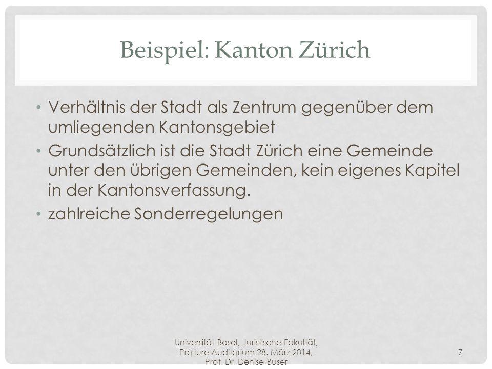 Universität Basel, Juristische Fakultät, Pro Iure Auditorium 28. März 2014, Prof. Dr. Denise Buser 7 Beispiel: Kanton Zürich Verhältnis der Stadt als