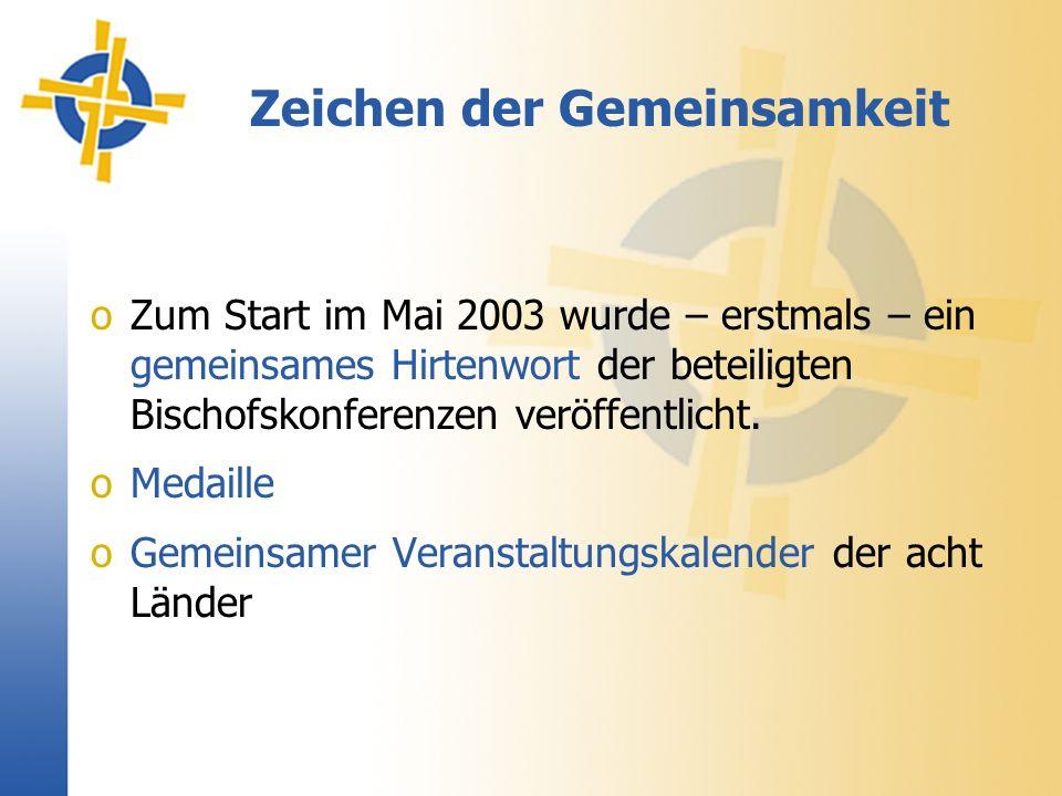 Zeichen der Gemeinsamkeit oZum Start im Mai 2003 wurde – erstmals – ein gemeinsames Hirtenwort der beteiligten Bischofskonferenzen veröffentlicht.