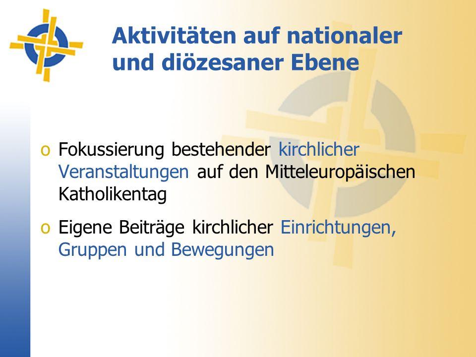 oFokussierung bestehender kirchlicher Veranstaltungen auf den Mitteleuropäischen Katholikentag oEigene Beiträge kirchlicher Einrichtungen, Gruppen und Bewegungen Aktivitäten auf nationaler und diözesaner Ebene