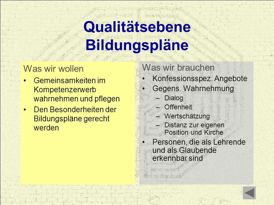 Qualitätsebene Bildungspläne Was wir wollen Gemeinsamkeiten im Kompetenzerwerb wahrnehmen und pflegen Den Besonderheiten der Bildungspläne gerecht wer