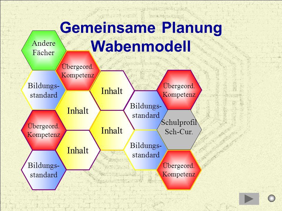 Gemeinsame Planung Wabenmodell Inhalt Inhalt Inhalt Bildungs- standard Übergeord. Kompetenz Andere Fächer Schulprofil Sch-Cur.