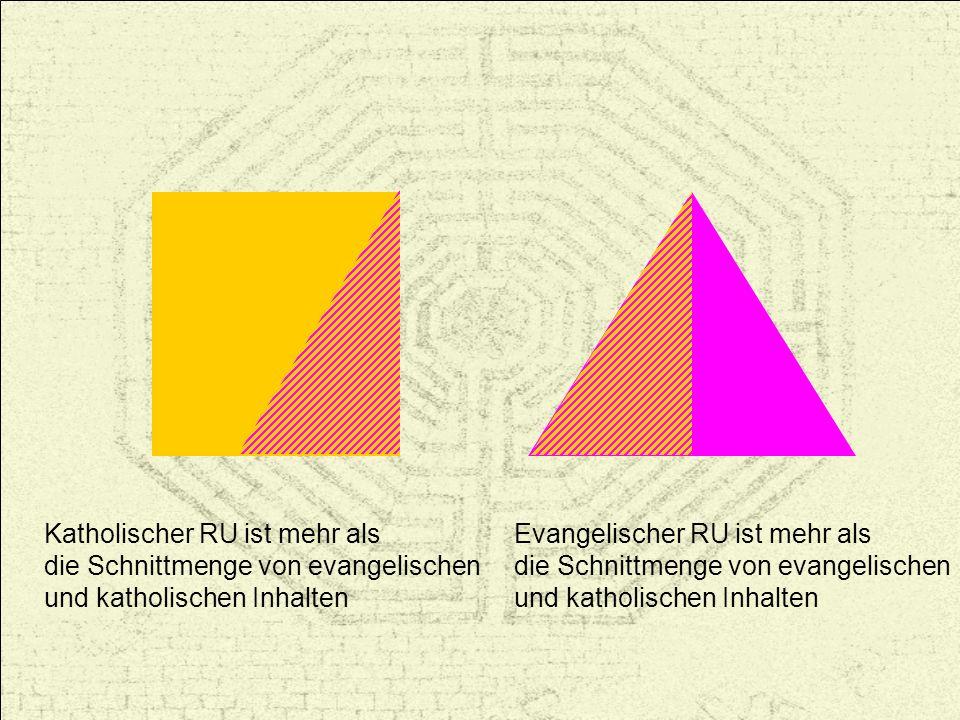 Evangelischer RU ist mehr als die Schnittmenge von evangelischen und katholischen Inhalten Katholischer RU ist mehr als die Schnittmenge von evangelis