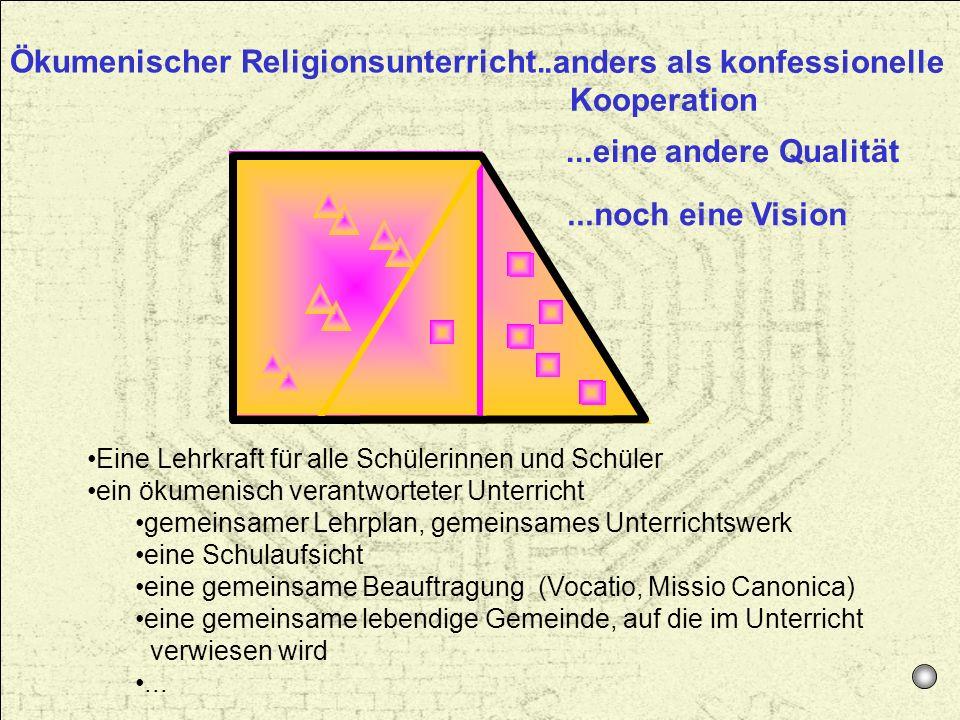 Ökumenischer Religionsunterricht. Eine Lehrkraft für alle Schülerinnen und Schüler ein ökumenisch verantworteter Unterricht gemeinsamer Lehrplan, geme
