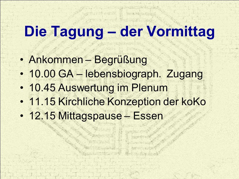 Die Tagung – der Vormittag Ankommen – Begrüßung 10.00 GA – lebensbiograph. Zugang 10.45 Auswertung im Plenum 11.15 Kirchliche Konzeption der koKo 12.1