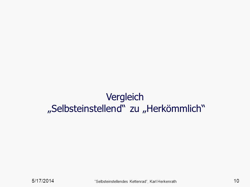5/17/2014 Selbsteinstellendes Kettenrad, Karl Herkenrath 10 Vergleich Selbsteinstellend zu Herkömmlich