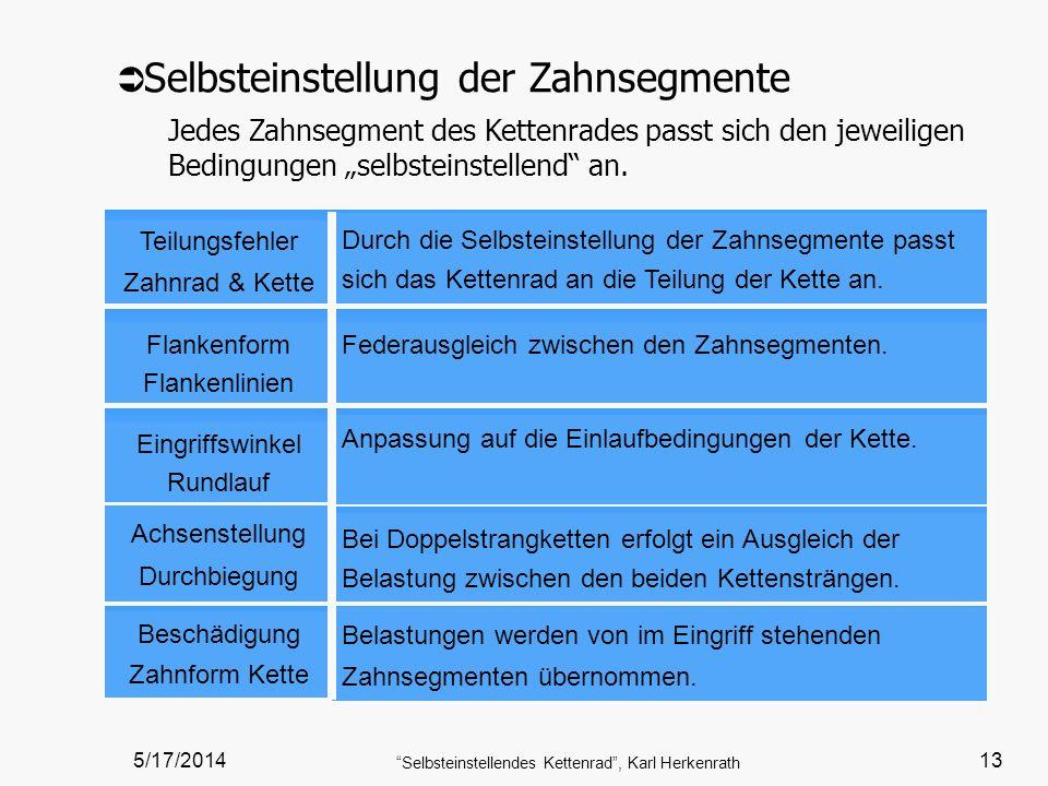 5/17/2014 Selbsteinstellendes Kettenrad, Karl Herkenrath 13 Teilungsfehler Zahnrad & Kette Durch die Selbsteinstellung der Zahnsegmente passt sich das