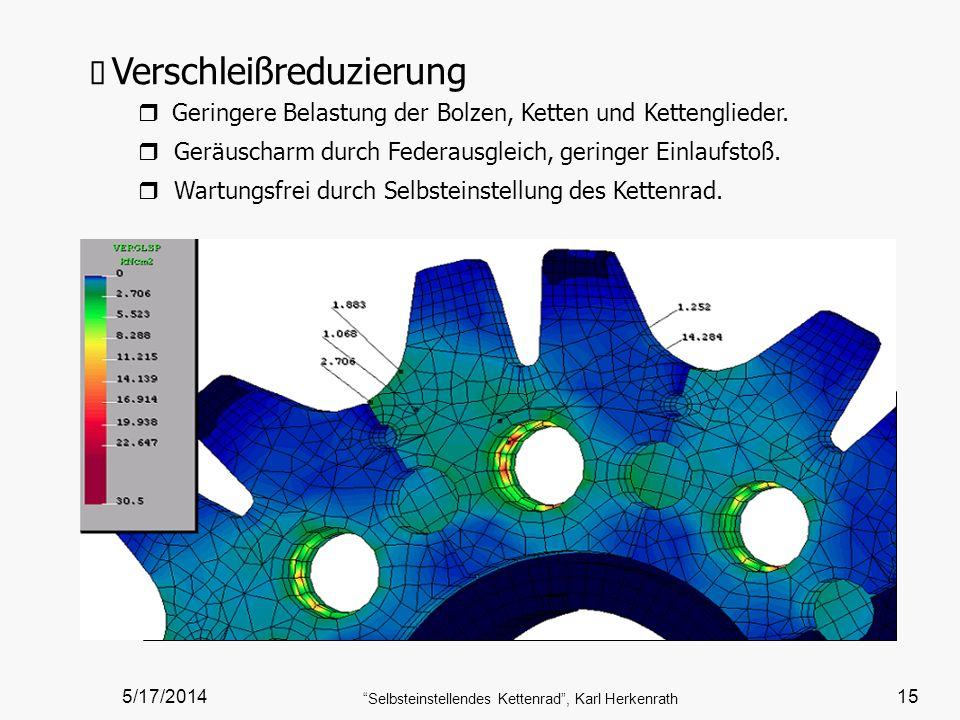 5/17/2014 Selbsteinstellendes Kettenrad, Karl Herkenrath 15 Verschleißreduzierung Geringere Belastung der Bolzen, Ketten und Kettenglieder. r Geräusch
