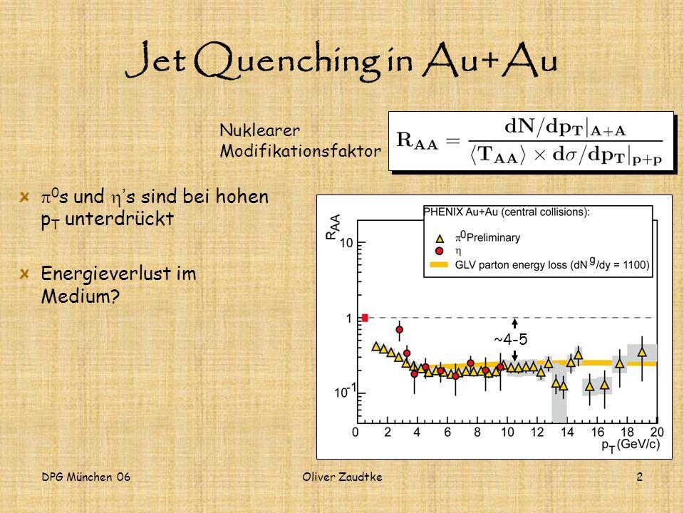 DPG München 06Oliver Zaudtke2 Jet Quenching in Au+Au 0 s und s sind bei hohen p T unterdrückt Energieverlust im Medium? Nuklearer Modifikationsfaktor