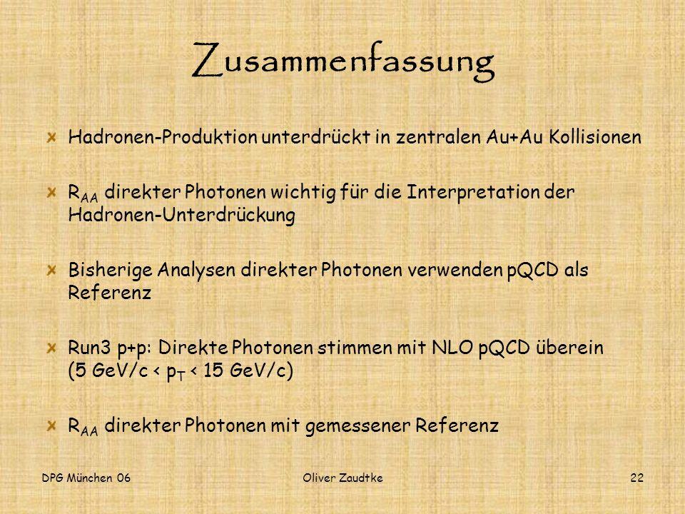 DPG München 06Oliver Zaudtke22 Zusammenfassung Hadronen-Produktion unterdrückt in zentralen Au+Au Kollisionen R AA direkter Photonen wichtig für die I