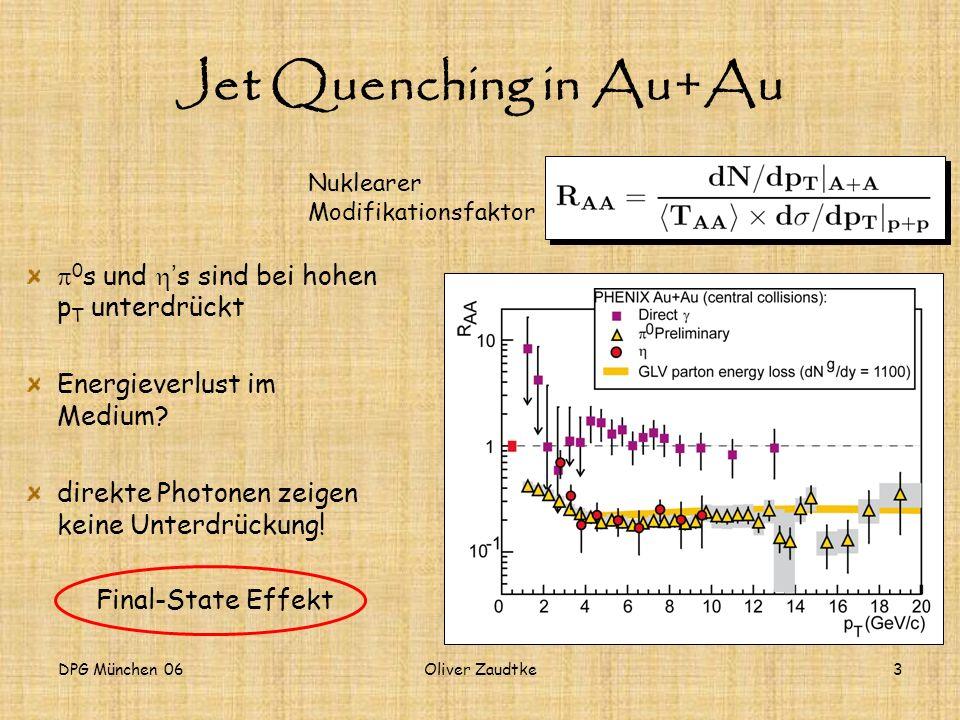 DPG München 06Oliver Zaudtke4 Nuklearer Modifikationsfaktor Spektrum in Au+Au R AA direkter Photonen PRL 94, 232301 (2005) Spektrum in p+p Skalierungsfaktor (beschreibt den Überlapp der beiden Kerne) gemessen pQCD (Run2)