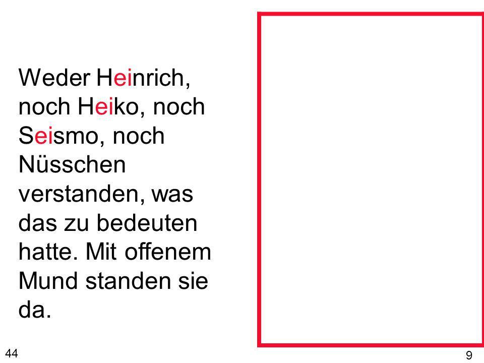 Weder Heinrich, noch Heiko, noch Seismo, noch Nüsschen verstanden, was das zu bedeuten hatte. Mit offenem Mund standen sie da. 44 9