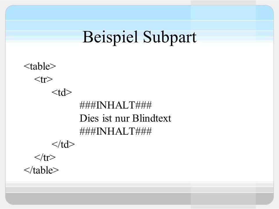 Beispiel Subpart ###INHALT### Dies ist nur Blindtext ###INHALT###