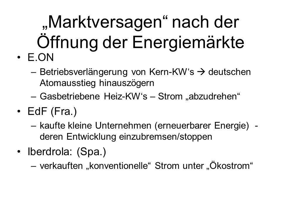 Marktversagen nach der Öffnung der Energiemärkte E.ON –Betriebsverlängerung von Kern-KWs deutschen Atomausstieg hinauszögern –Gasbetriebene Heiz-KWs –